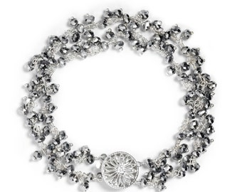 Mystic Pyrite Double Strand Cluster Bracelet in Sterling Silver