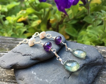 Moss Aquamarine, Amethyst, Keshi Pearl Sterling Silver Earrings, Long Dangle, Green, Purple, White, Wire Wrap Jewelry, Handmade Earrings