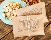 Wedding Favor Bags - Nut Buffet Bag -  Love is Nuts! - roasted nut favor - herb nut favor -  25 kraft Bags