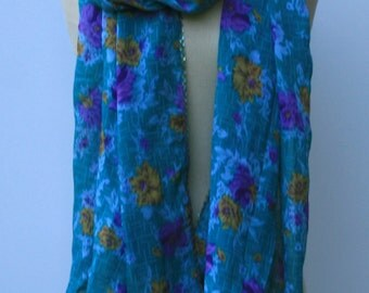 Teal summer scarf, jade green flowers Vintage Scarf  Dupatta beach cover up large shoulder veil stole shawl floral Indian scarf, India BoHo