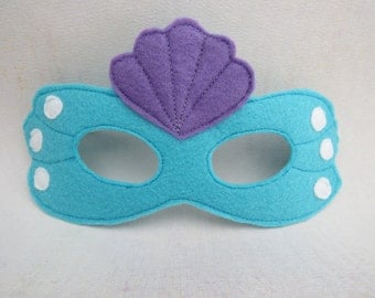 Felt Mermaid Mask - Sea Nymph Mask - Water Fairy - Under The Sea - Masquerade - Fantasy Costume Accessory