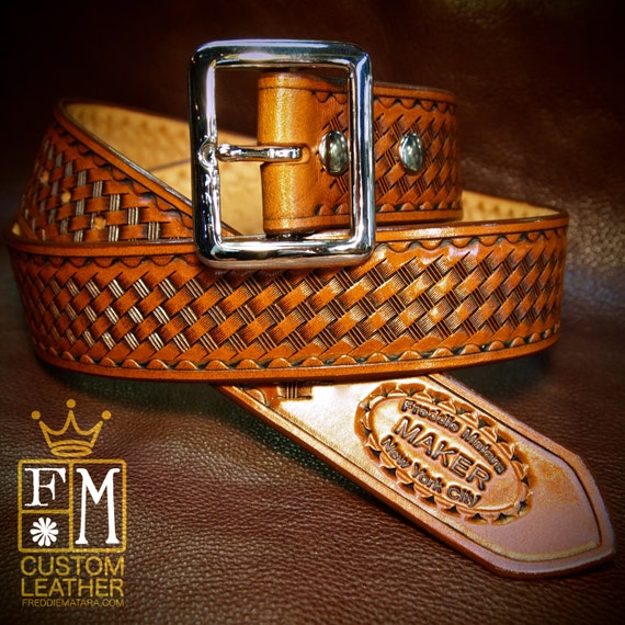 "Tan leather belt Tooled basket weave with waved border Polished nickel buckle 1-3/4"" wide handmade for YOU in NYC by Freddie Matara"