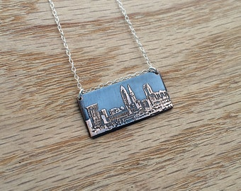 Cleveland Ohio skyline necklace | Cleveland skyline pendant | etched copper pendant | etched brass pendant | jewelry for her