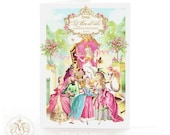 Marie Antoinette, card, let them eat cake, French, birthday card, Paris, street party, high tea, macarons, pink rose, horse, carriage