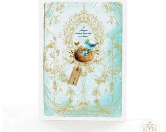 "Blue bird with a nest card, French quote ""a chaque oiseau son nid est beau"", ""to each bird it's own nest is beautiful"""