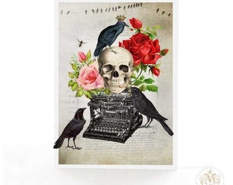 Halloween card, macabre gothic skull with vintage typewriter and crows