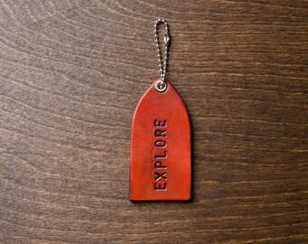 Leather Luggage Tag EXPLORE - Antique Crimson