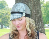 Medium large Jax Hats, blue black and grey menswear hat, upcycled hat, recycled clothing hat, eco friendly,  newsboy cap, flapper hat,