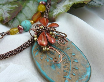 Polymer Patina Leaf and Resin Wire Wrapped Dragonfly Beaded Double Strand Necklace