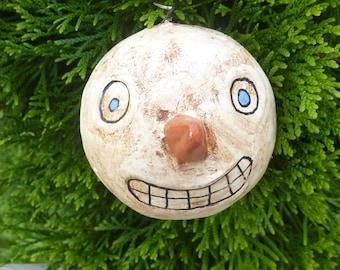1 Hand Painted Primitive  Snowman Ornament .  Christmas  Ornament.  Primitive Christmas or Winter Decoration.