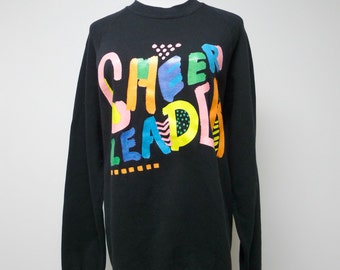 CHEER LEADER . black sweatshirt / pullover . size large / 42 - 44 . made in USA