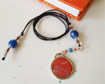 CREATE Beaded Bookmark/ Coral And Blue/ Inspirational/ Glass Beaded Cord With Metal And Acrylic Charm/ Journal Marker/ Gift For Readers