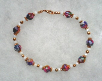 Multi Color Shell Beads Copper Beads and White Luster Glass Beads in Copper Bracelet