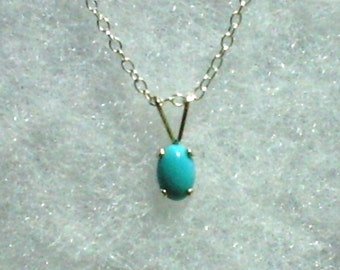 6x4mm Sleeping Beauty Turquoise Gemstone Cabochon in 925 Sterling Silver Pendant Necklace