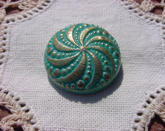 Creamy Mint Jadeite Golden Pinwheel Shankless Czech Glass Button