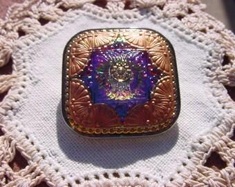 Golden Copper Fuchsia Teal Quilt Square Czech Glass Button