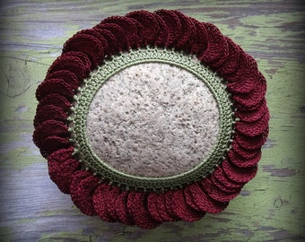 Crocheted Lace Flower Stone, Handmade, Art Object, Table Decoration, 3D, Unique Gift, Monicaj