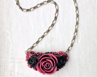 Fancy Schmancy Pink and Black Rose necklace