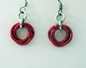 Red Mobius Chainmaille Earrings Handmade
