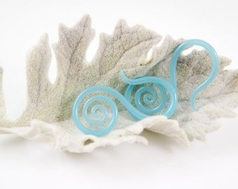 14G   Sea Blue   Medium Drop Spirals   Gauged Glass Body Jewelry for Stretched Piercings by Glassheart