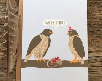 funny birthday card / hawks
