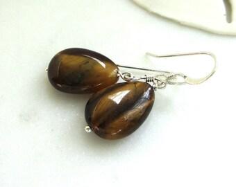 Tigers Eye Earrings, Natural Tigers Eye, Brown Gemstone Earrings, Autumn Color Jewelry, Minimalist Earrings, Rich Brown Earrings, Jordan