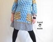 UltraMod MashUp Dress - plus size, size 18 or 20W, Mod scooter dress, handmade in vintage knit fabrics, cat, dog, pockets -- 46B-44W-48H