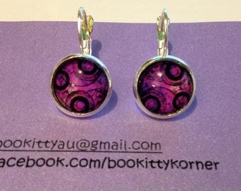Doctor Who Gallifreyan Symbol Purple Silvertone Leverback Dangle earrings