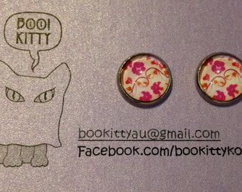 SALE! Floral Pink/Red on White Stud Earrings with Hypoallergenic Stainless Steel Findings