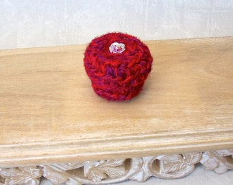 Little Red Rose Silk Basket - Mini Basket with Lid and Glass Button Embellishment - Flower Inspired Shelf Decor Basket Gift for Her STB084