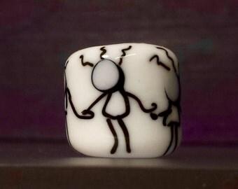 Dreadlocks Big Hole Lampwork Glass Bead #366 SRA