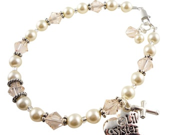 Big Sister Bracelet, Cross Bracelet Jewelry Gift, Silk crystals/cream pearls - any colors- Baptism Christening, Big Sis silver charm