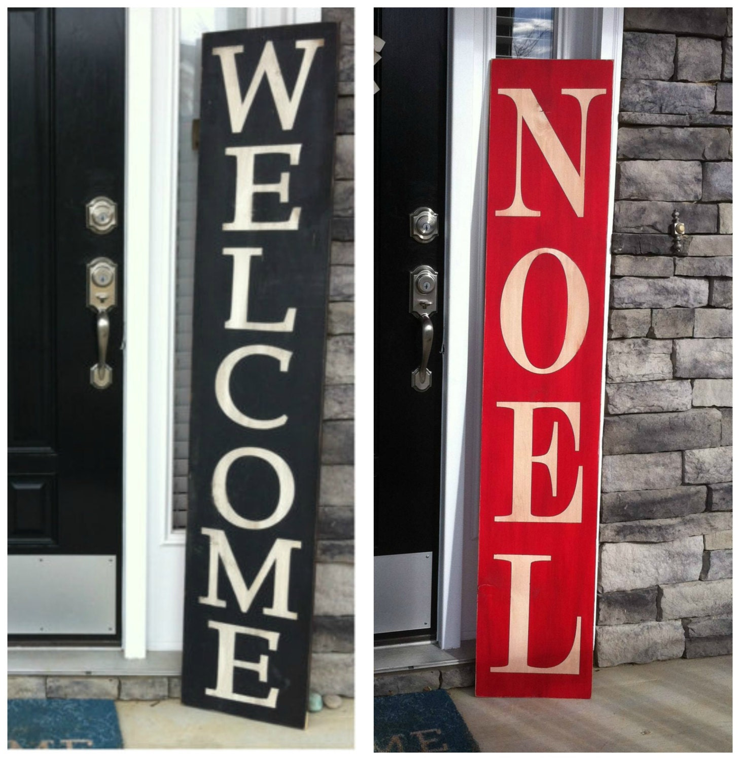 Reversible Front Porch Sign Large Welcome Sign Large Christmas