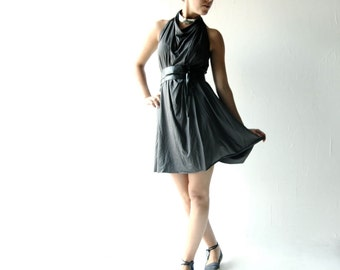 Tunic dress, Grey dress, Jersey dress, Grecian dress, Halter dress, Mini dress, Day dress, high low dress, Maternity clothes, Womens dress