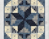 Midnight Quilt Pattern - A spiral galaxy quilt pattern featuring night sky themed fabrics