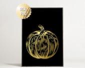 Halloween Decorations Pumpkin - Real Gold Foil Print - Gold Halloween Decor - Gold Pumpkin - Gold and Black - Black and Gold Halloween Art
