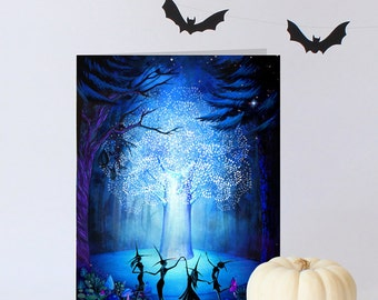 Witch Sisters Halloween Greeting Card or Party Invitation - Dancing Witches Tree of Light Witch Silhouette - Halloween Stationary
