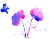 "Whimsical bright pink and blue watercolor flowers painting: ""Early Spring"""