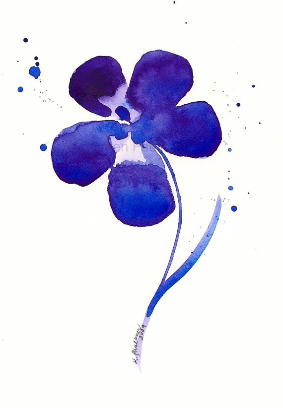 "Watercolor print of a purple flower: ""My Deep Purple Dream"""