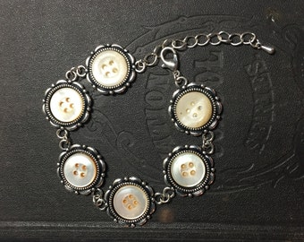 Mother of Pearl antique button bracelet