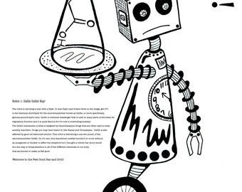Coloring Art Print Robot #1 Gaba Gaba Hey 11x17 Poster Art For You To Color and Frame with FREE Markers