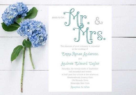 Mr. and Mrs. Wedding Invitation - Large Type, Unique Whimsical Wedding Invitation