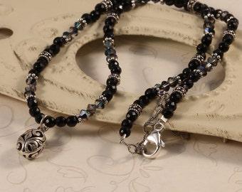 Black Onyx Gemstone Swarovski Crystal Beaded Necklace, Sterling Silver Charm, Versatile Dramatic Simple NSHA