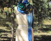 T shirt  Scarf Super long skinny RECYCLED t shirts TRAVEL themed