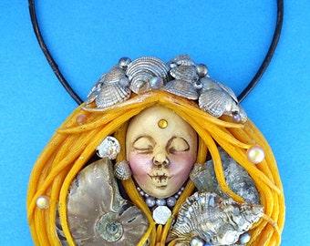 Clay Gemstone Goddess Necklace, Mermaid Ocean Goddess Jewelry, Ammolite Pendant, Nautical Goddess Necklace, Nautical Mermaid Jewelry, Gifts