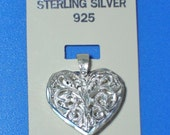 Large Sterling Silver Filigree Puff Heart Pendant