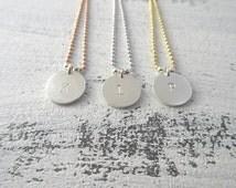 Personalised Sterling Silver Initial Disc Adjustable Bracelet - Silver Circle Bracelet - Customised Initial Bracelet -Initial Charm Bracelet