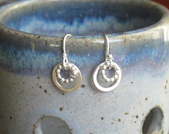 Sterling Silver Circle Drop Earrings - Small Circle Drops - Round Drop Earrings - Silver Loop Earrings