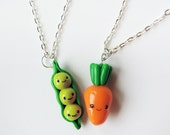 Best Friends Necklaces Peas and Carrot Polymer Clay Charms