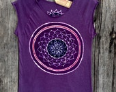 Mandala bio organic cotton tops & tees women crop t-shirt mulberry vintage black  hand painted and hand dyed women yoga top